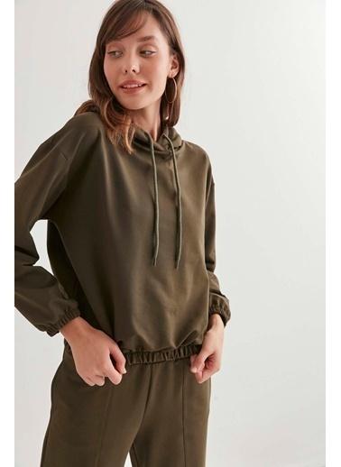 Vitrin Kapüşonlı Basic Sweatshirt Haki